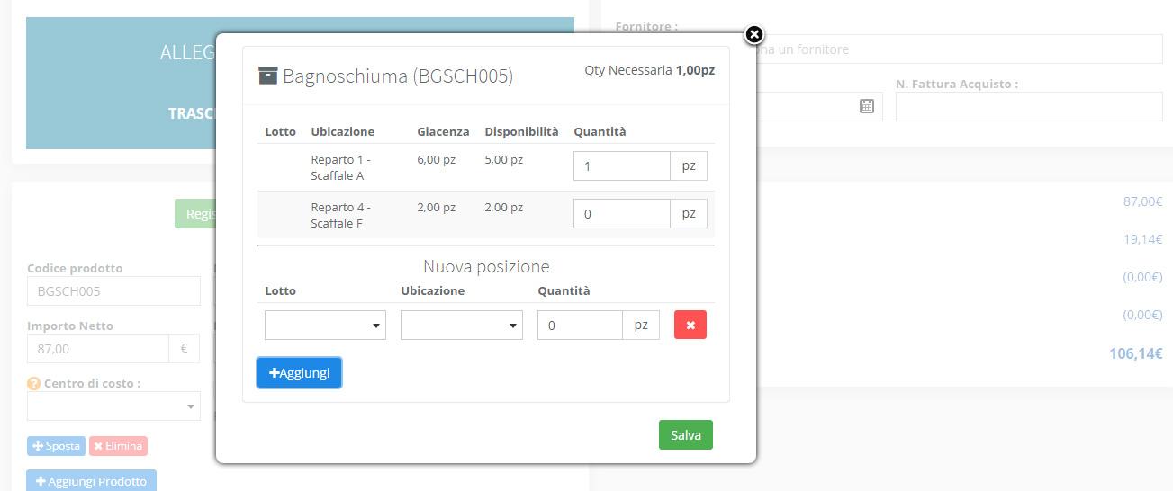 Magazzino - Personalizzazione carico prodotti fattura di Acquisto