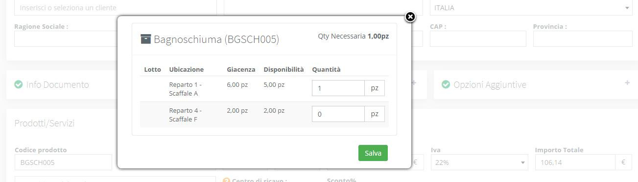 Magazzino - Personalizzazione scarico prodotti fattura