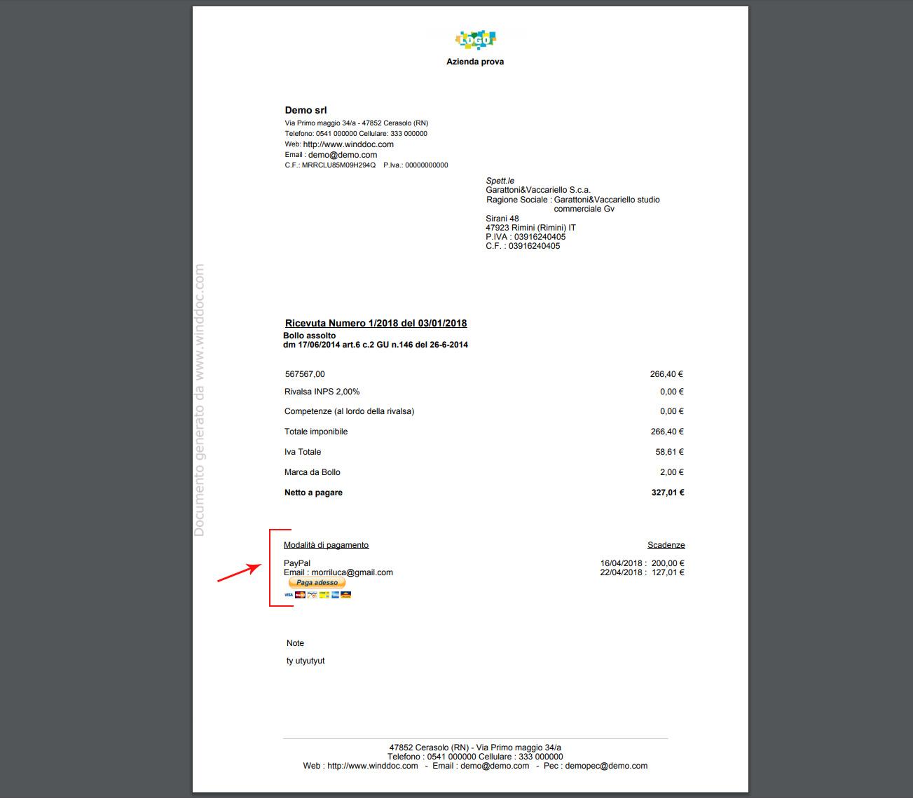 stampa PayPal in fattura