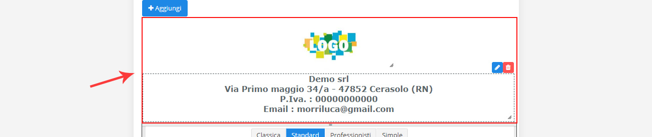 Modifica header template di stampa