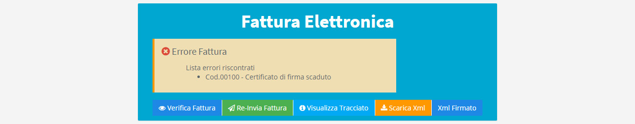 Fattura elettronica - Errore documento