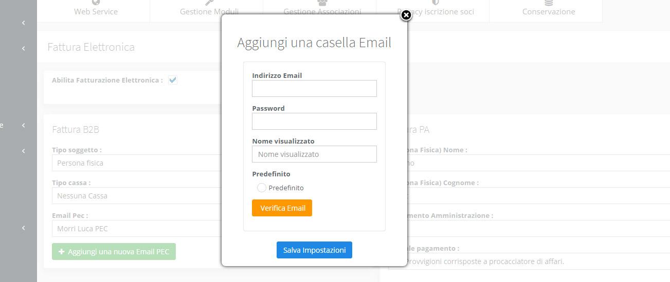 Configurazione Email Pec fattura elettronica - Passo 2