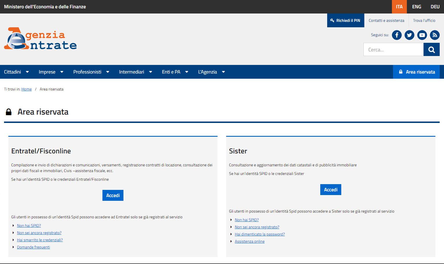 Agenzia entrate - Accesso con credenziali agenzia