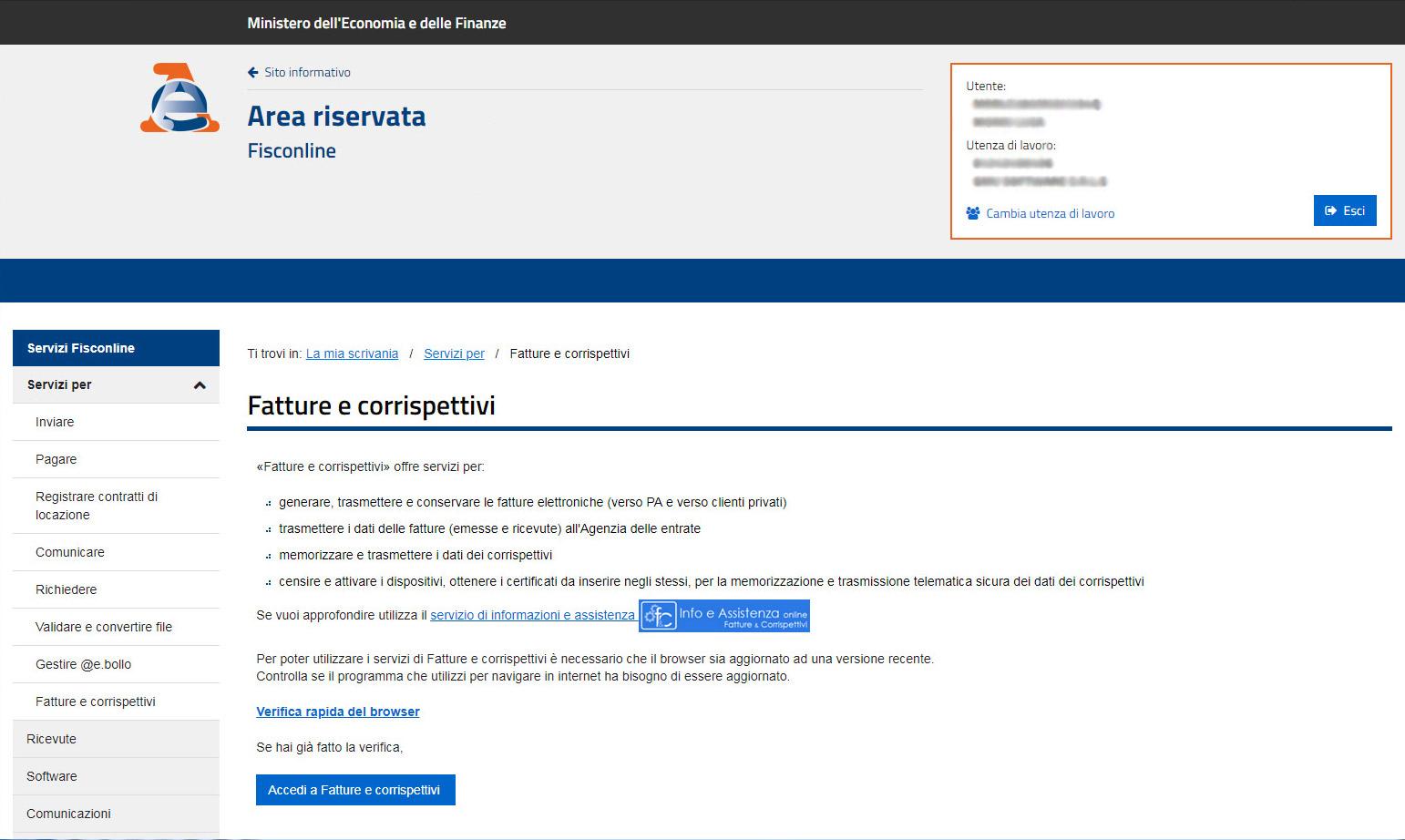 Agenzia Entrate - Seleziona utenza di lavoro
