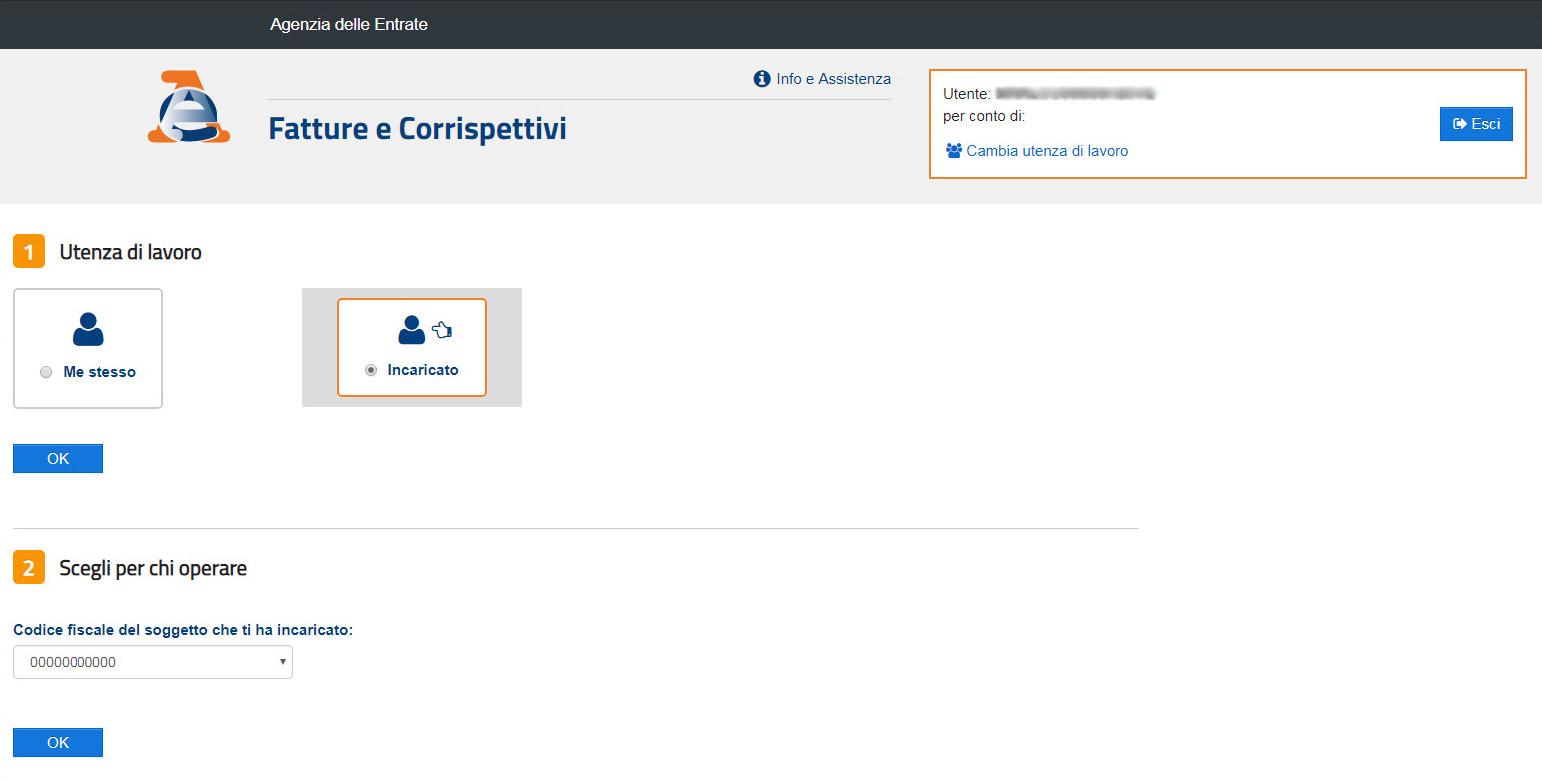 Agenzia Entrate - Fatture e corrispettivi - Seleziona incaricato