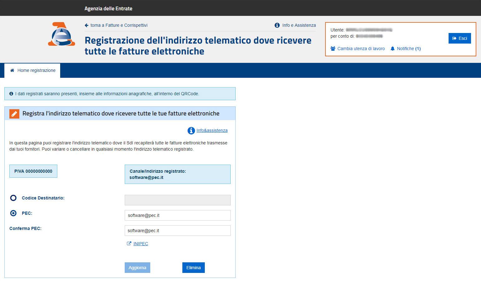 Agenzia Entrate - Registrazione indirizzo telematico
