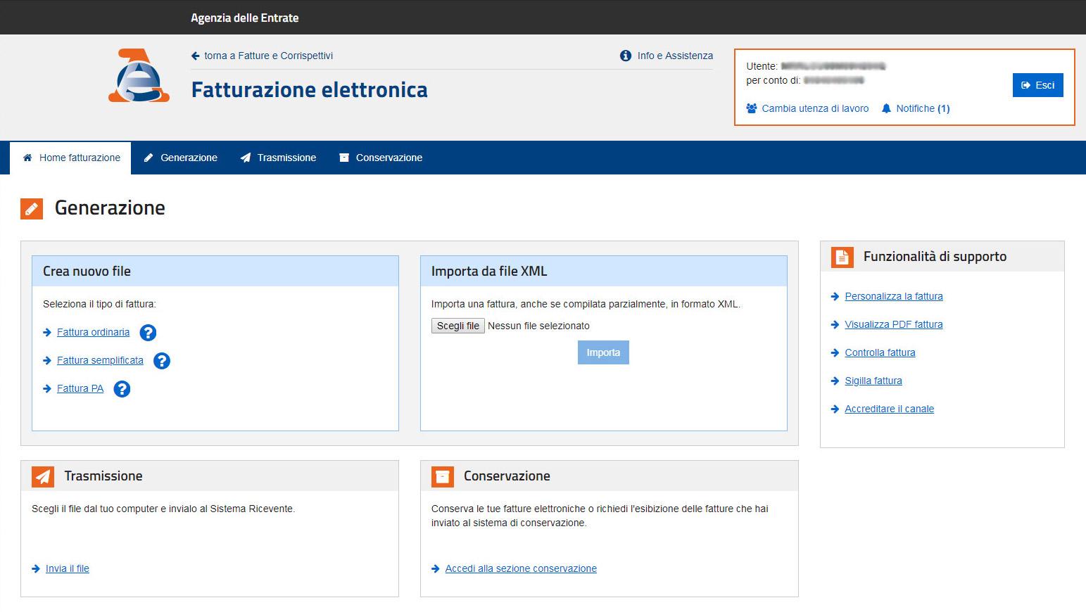 Agenzia Entrate - Conservazione fattura elettronica
