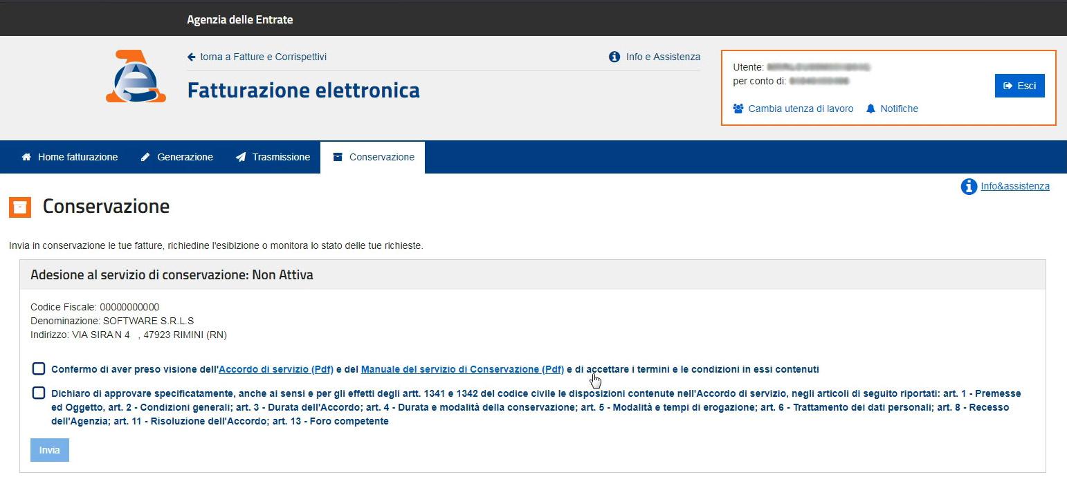 Agenzia Entrate - Abilitazione conservazione fattura elettronica