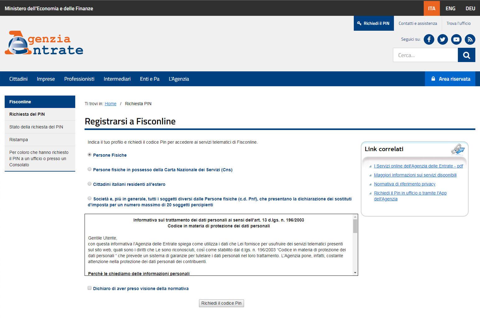 Agenzia Entrate - Registrazione persona fisica