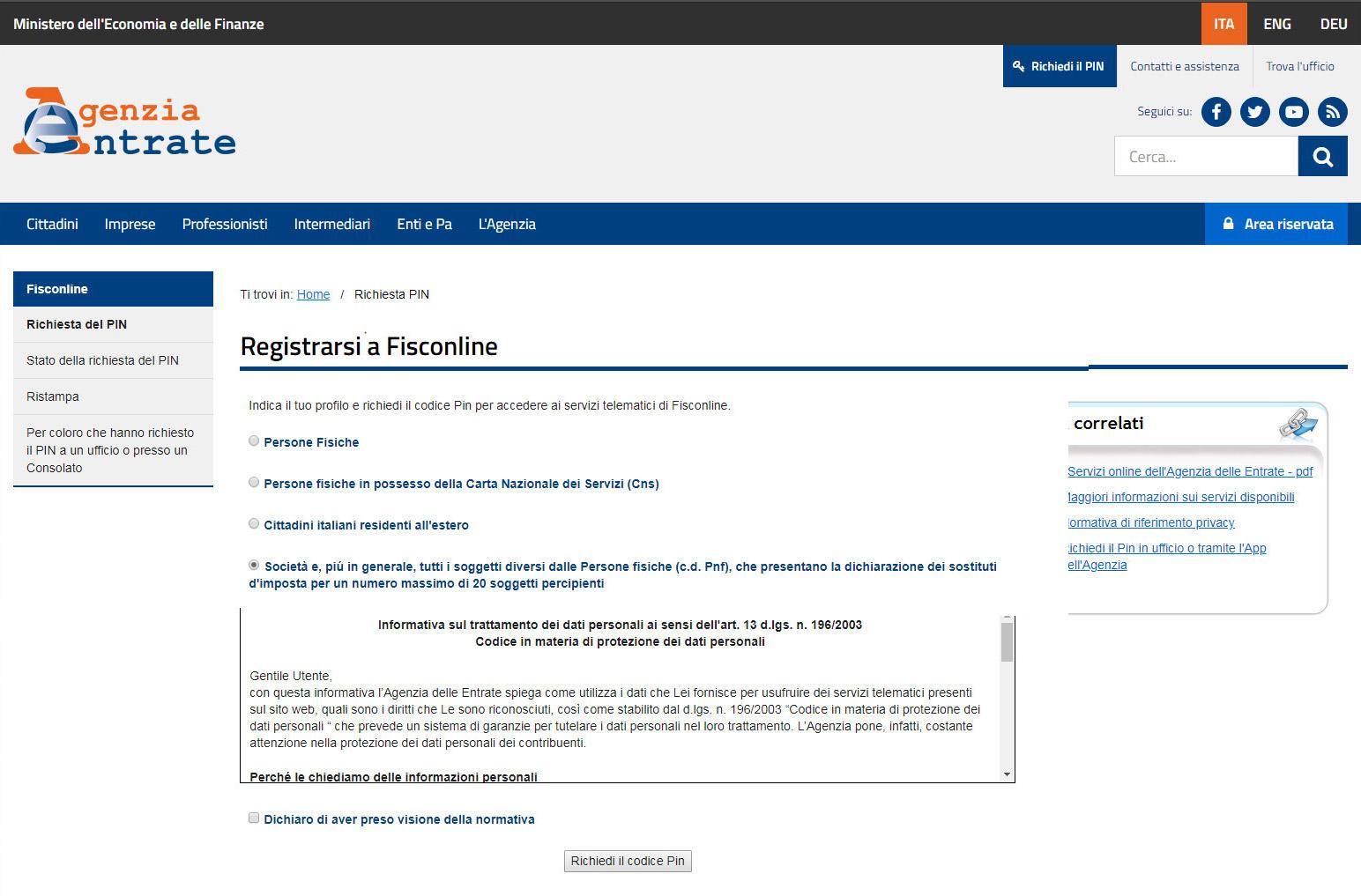 Agenzia Entrate - Registrazione società
