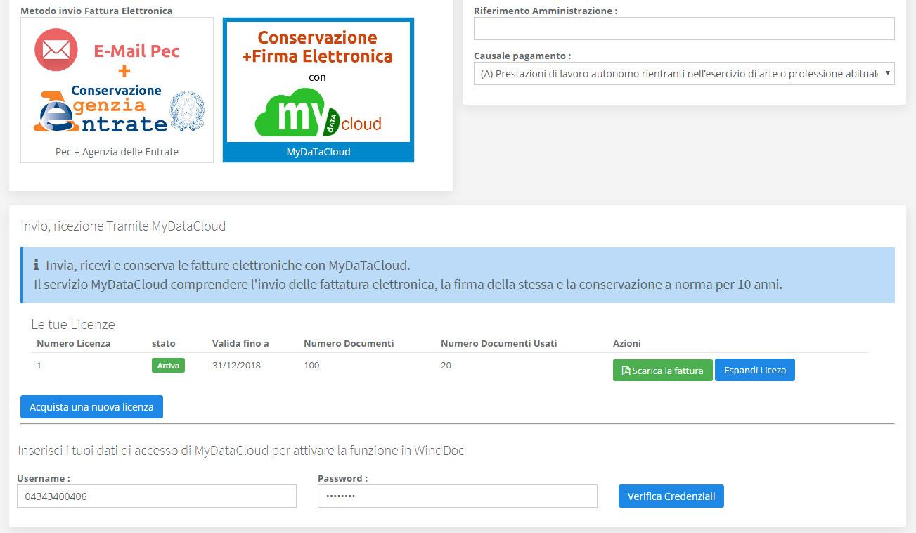 Configurazione MyDataCloud fattura elettronica