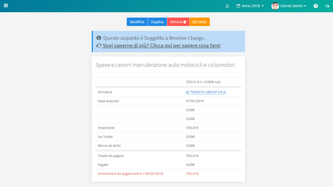 Notifica Reverse Charge