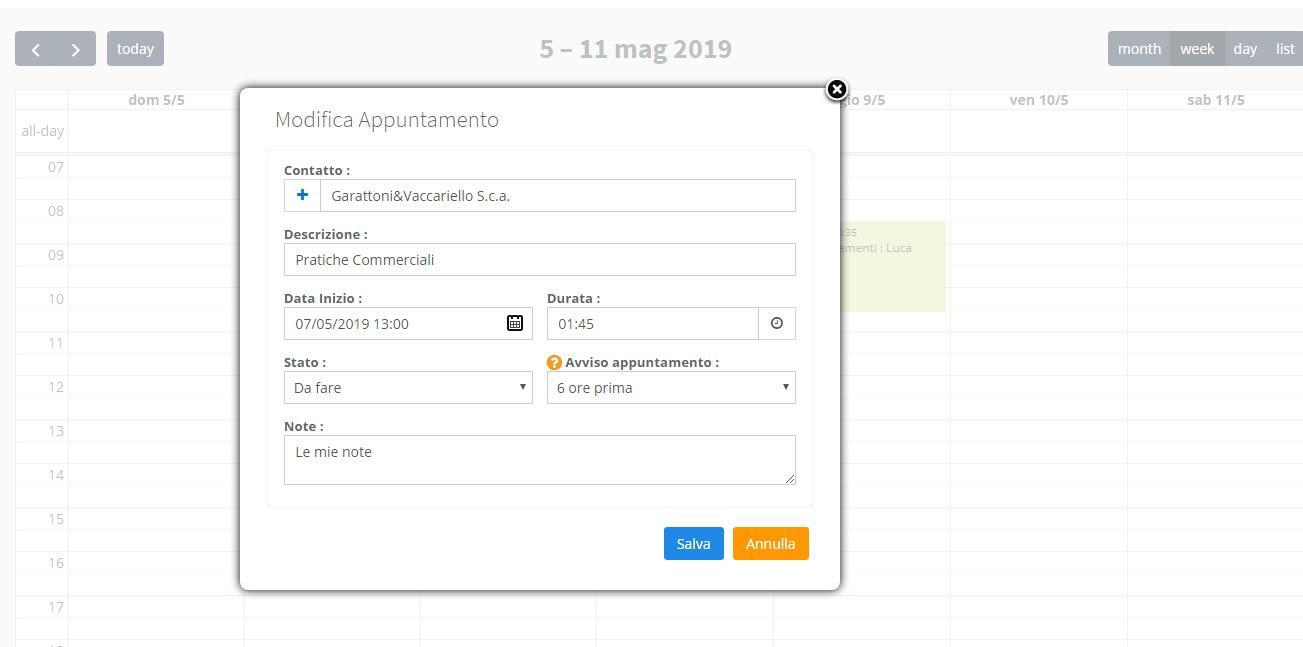 Calendario appuntamenti - Nuovo appuntamento