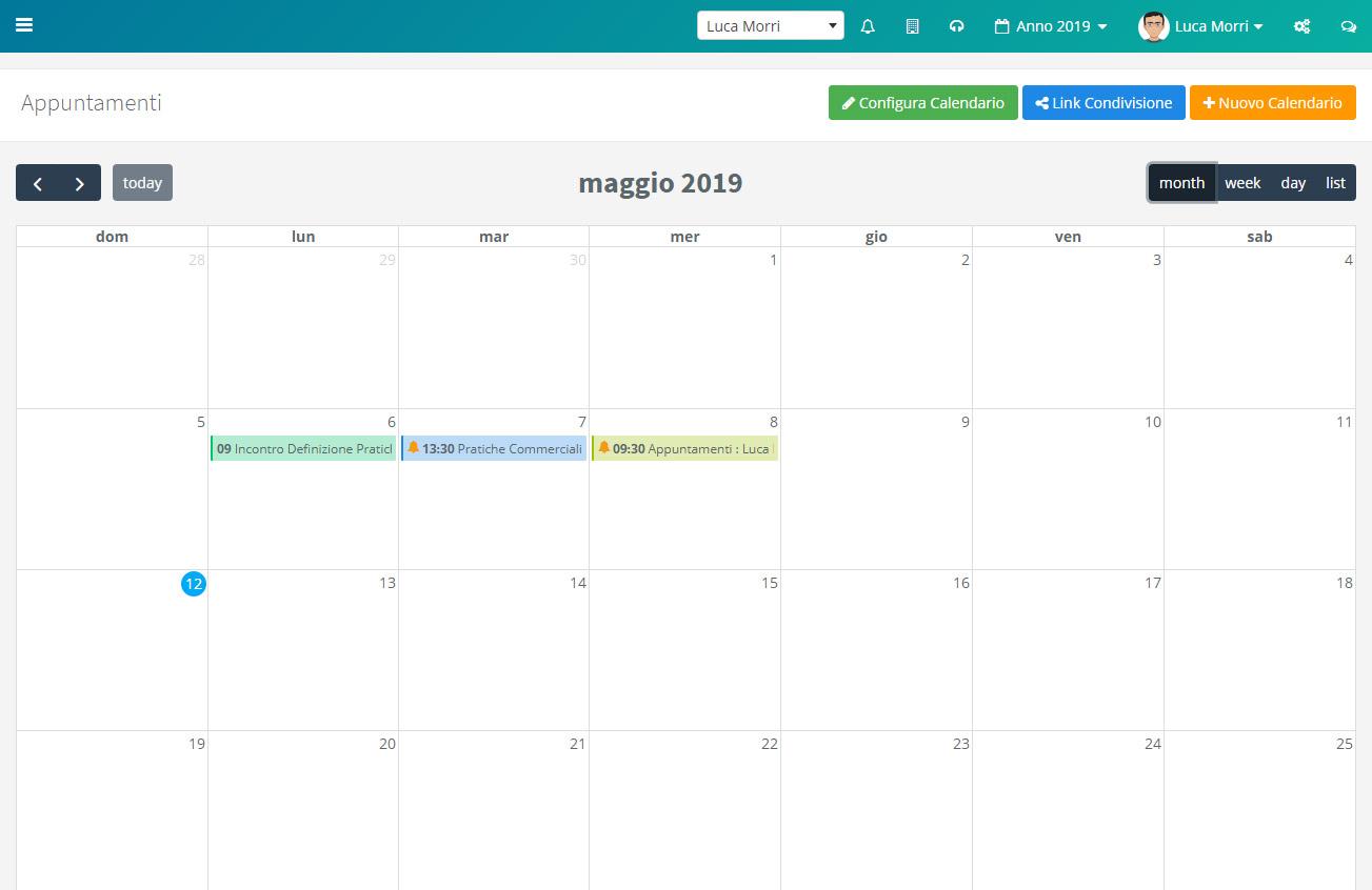 Calendario appuntamenti - Mese