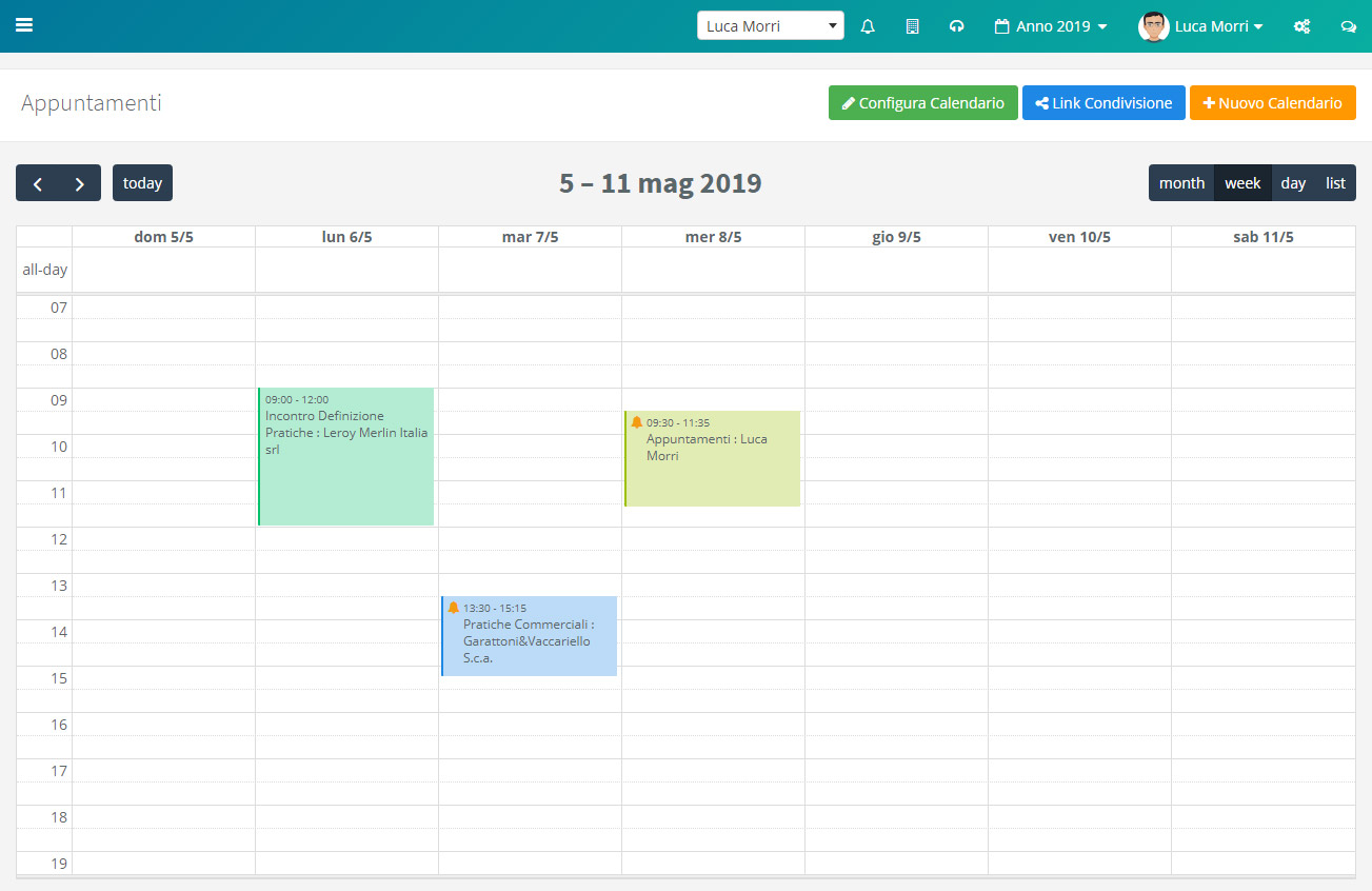 Calendario appuntamenti - Settimana