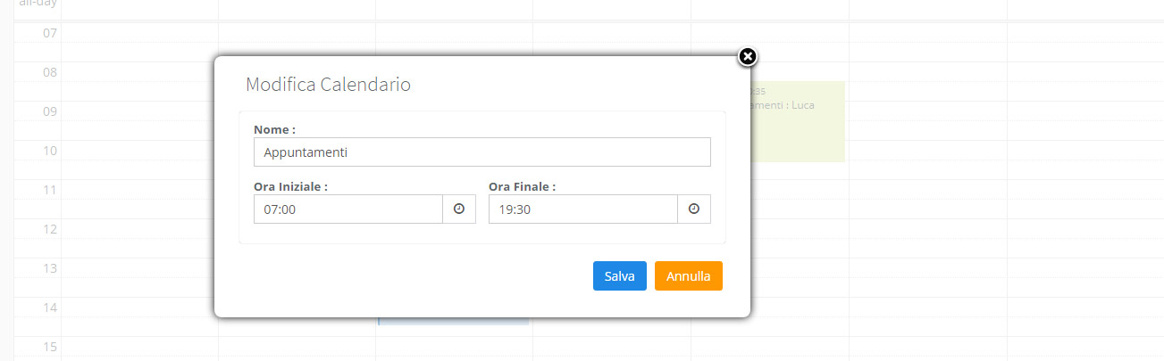 Modifica Calendario appuntamenti